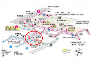 【地図】新大阪駅正面口